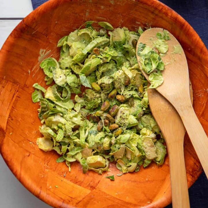 Bowl of Brussels Sprouts Caesar salad