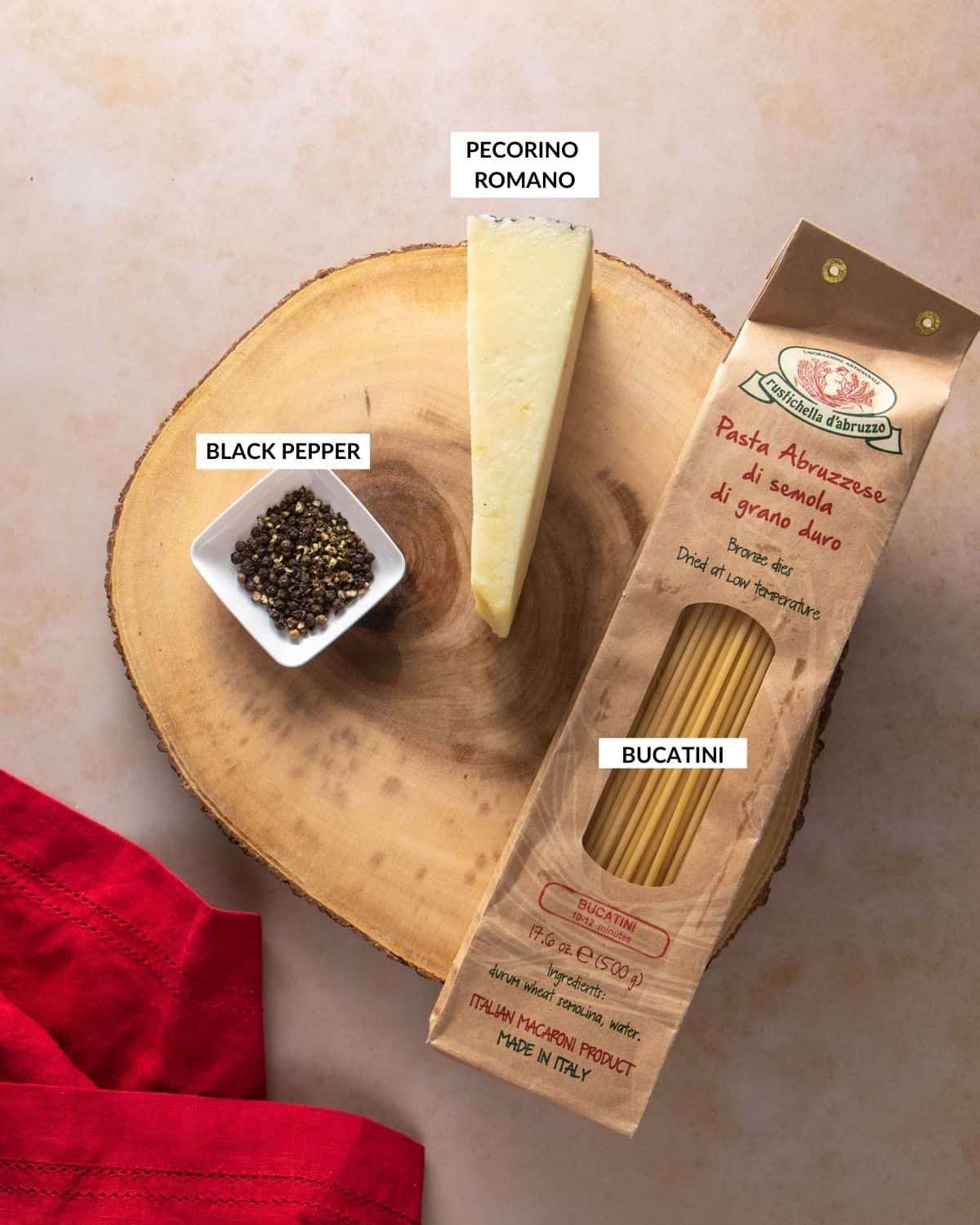Labeled ingredient list showing black pepper, Pecorino Romano and bucatini pasta - check recipe card for details!