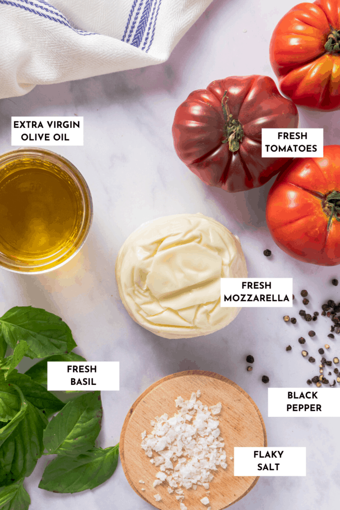 Labeled ingredients shown for Caprese salad