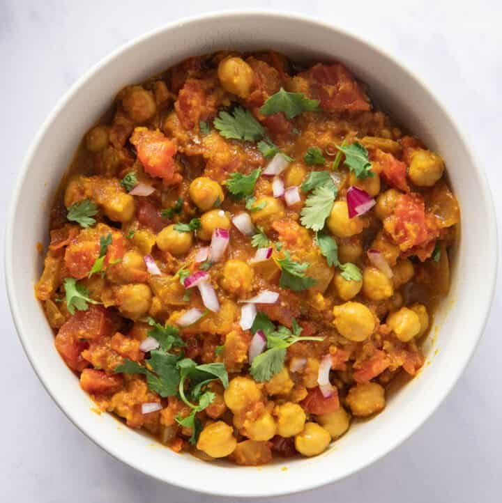 Bowl of chana masala - close up