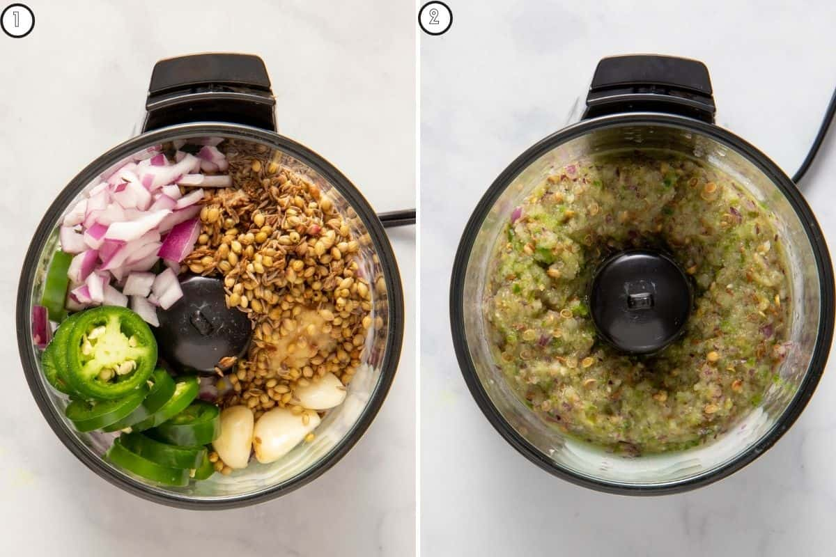 Before and after pictures showing how the spices are ground together to make a coarse spice paste in food processor