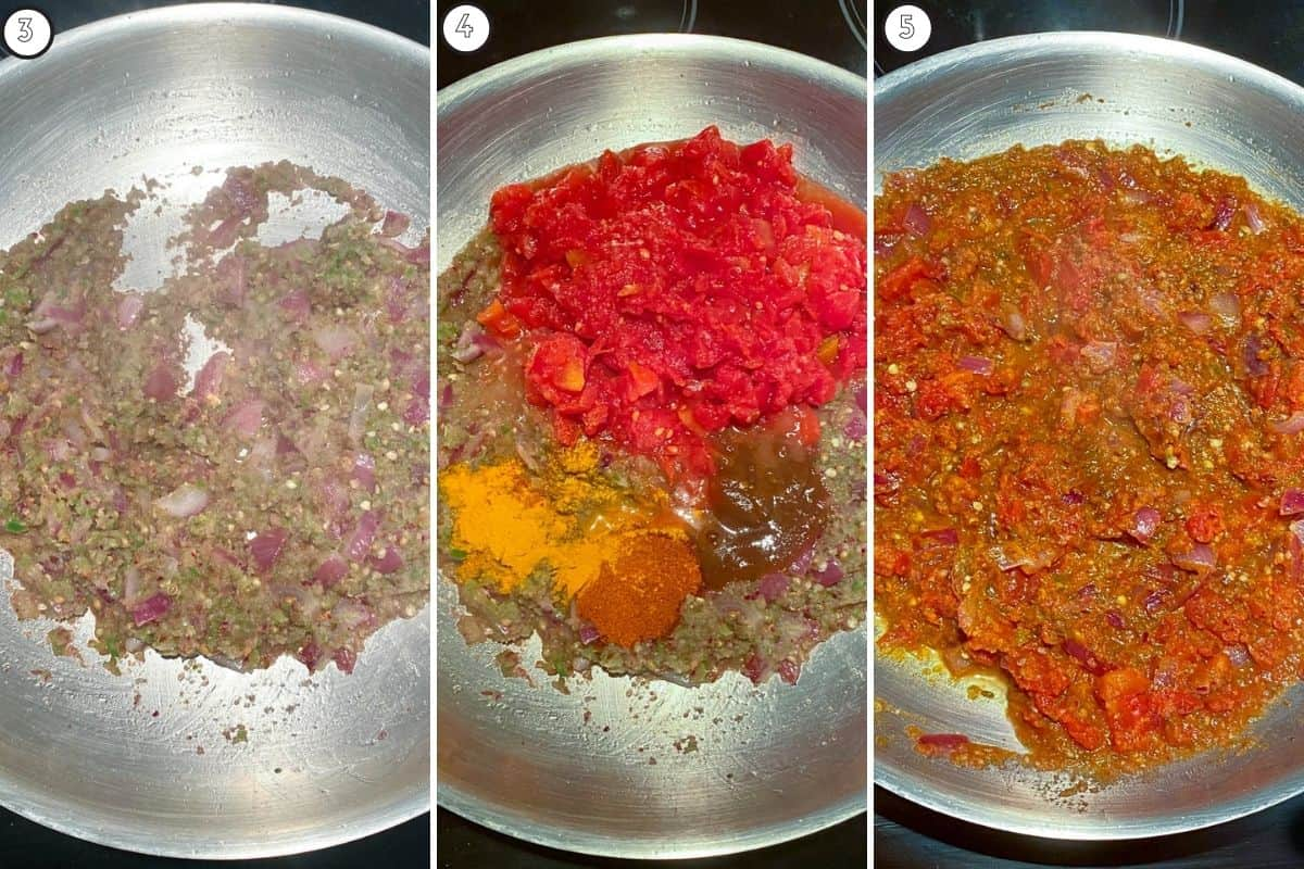 Three step collage showing the coarse spice paste, addition of tomato and spices, and final base consistency