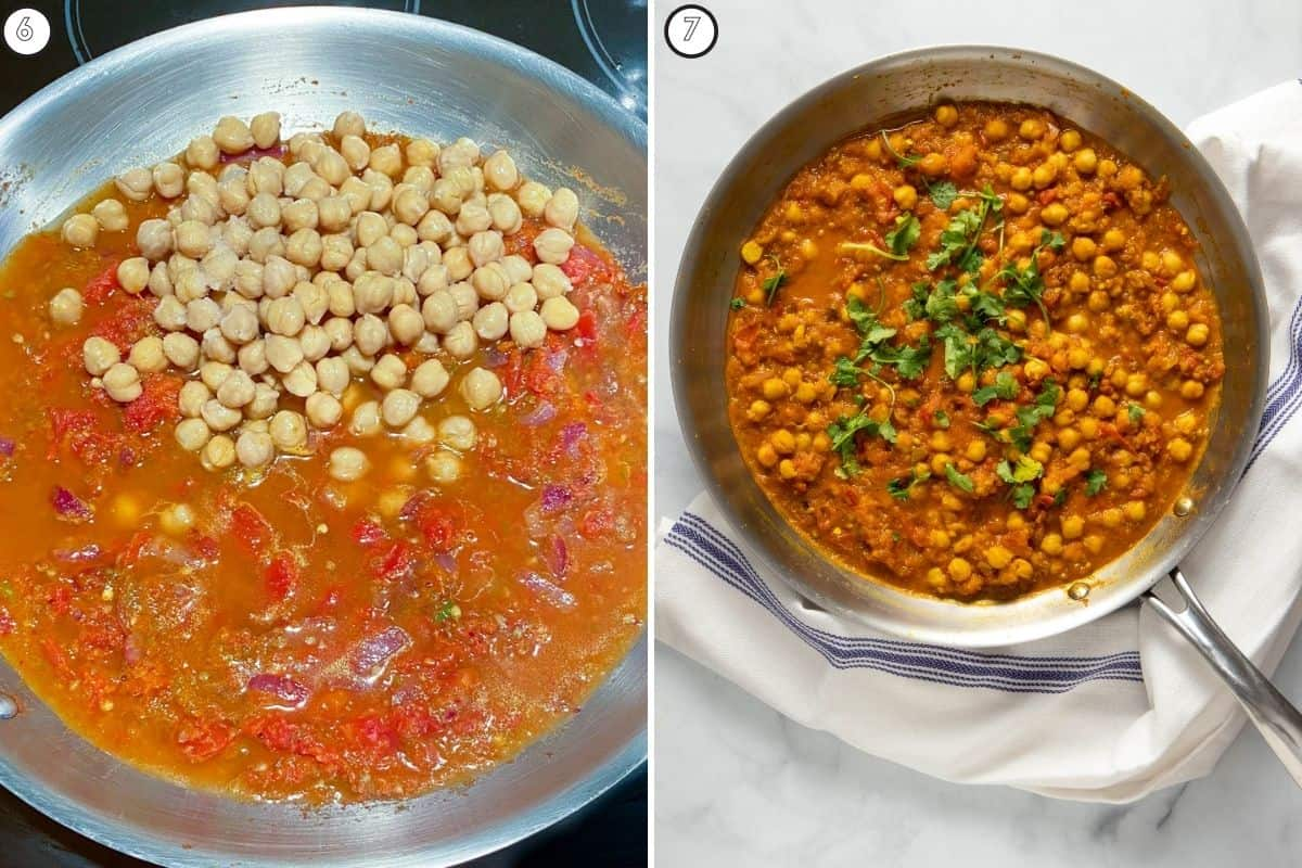 Two part collage showing addition of chickpeas and finished product in skillet