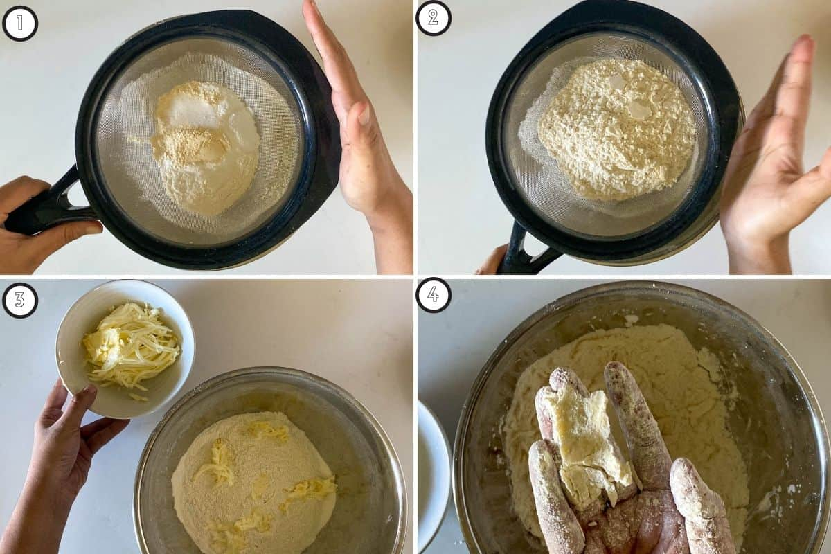 Four step collage showing sifting of dry ingredients and mixing in butter