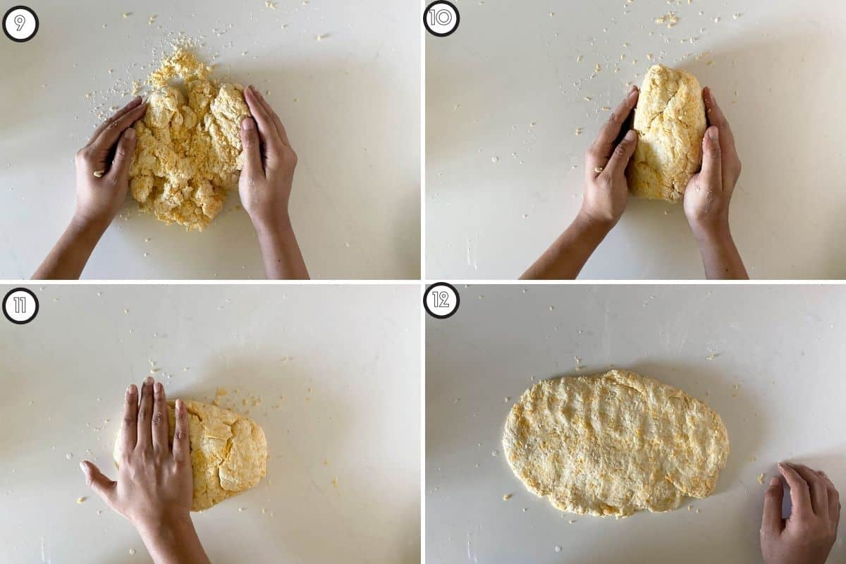 Four step collage showing how to get dough ready