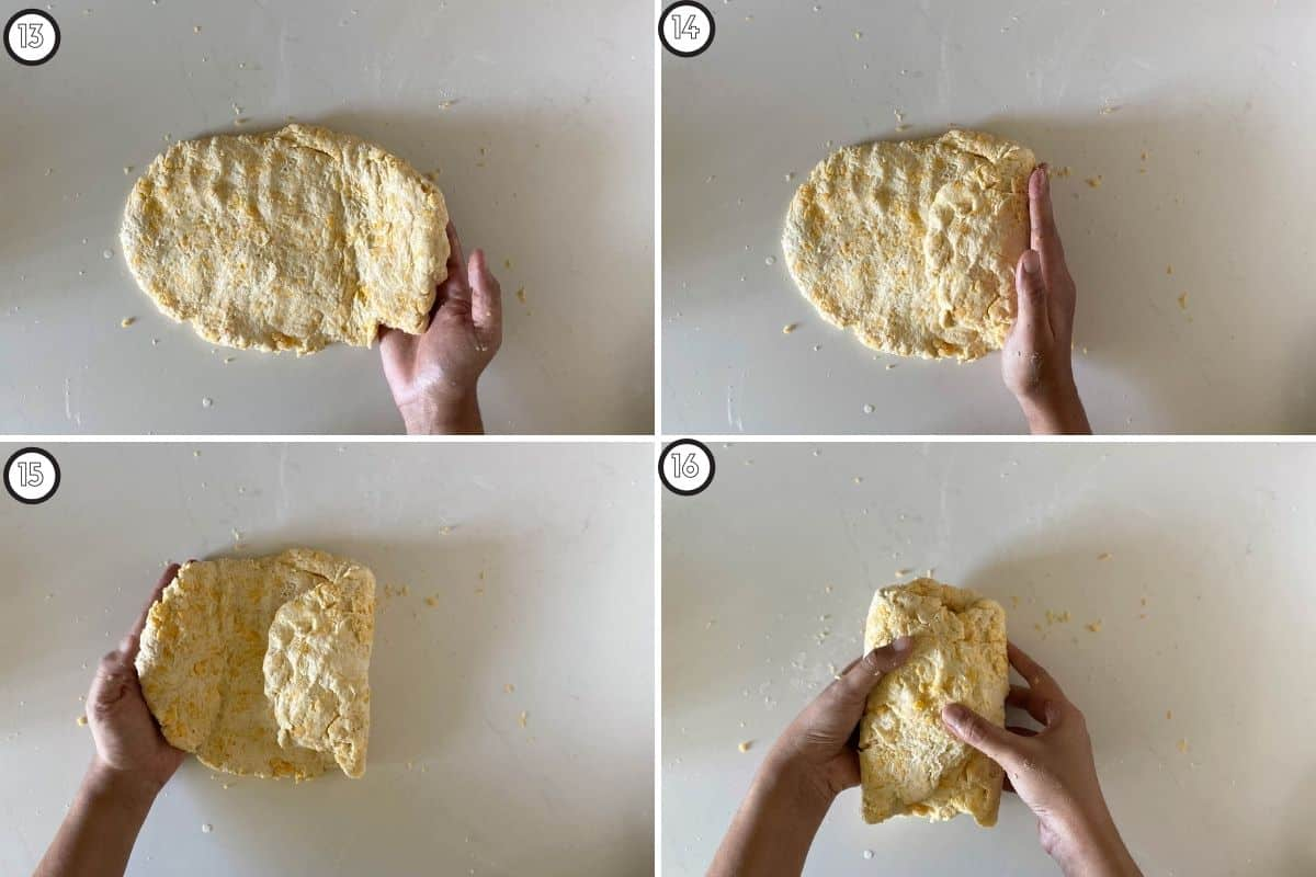 Four step collage showing how to get layers in the biscuits!