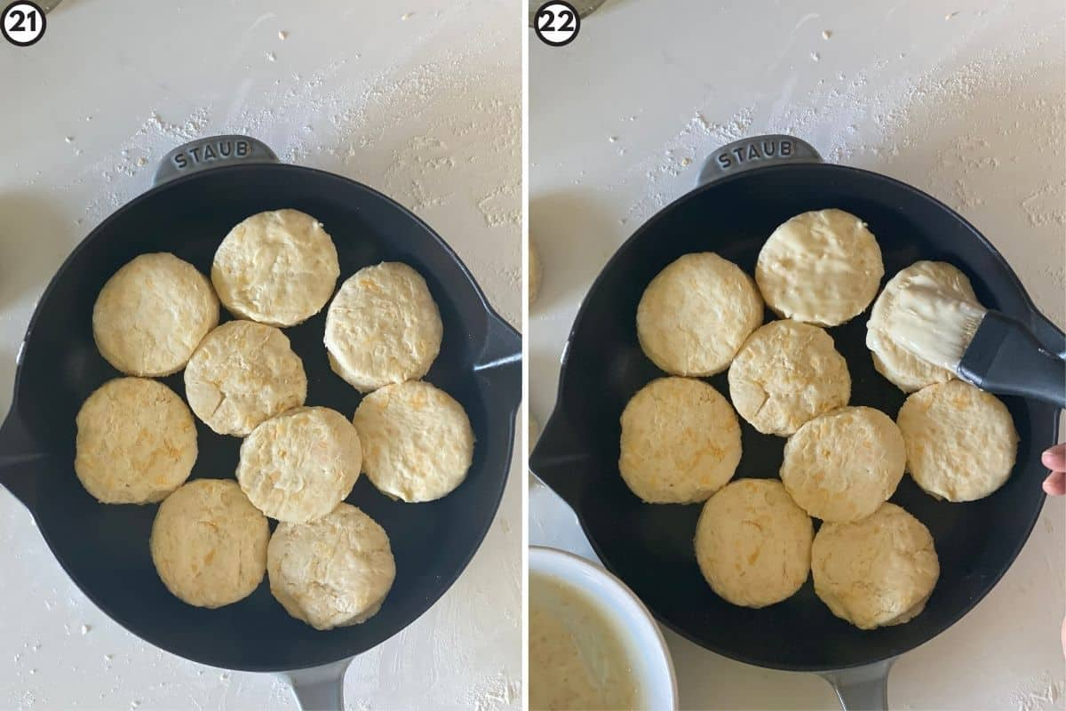Two step collage showing how to arrange biscuits and brush with butter