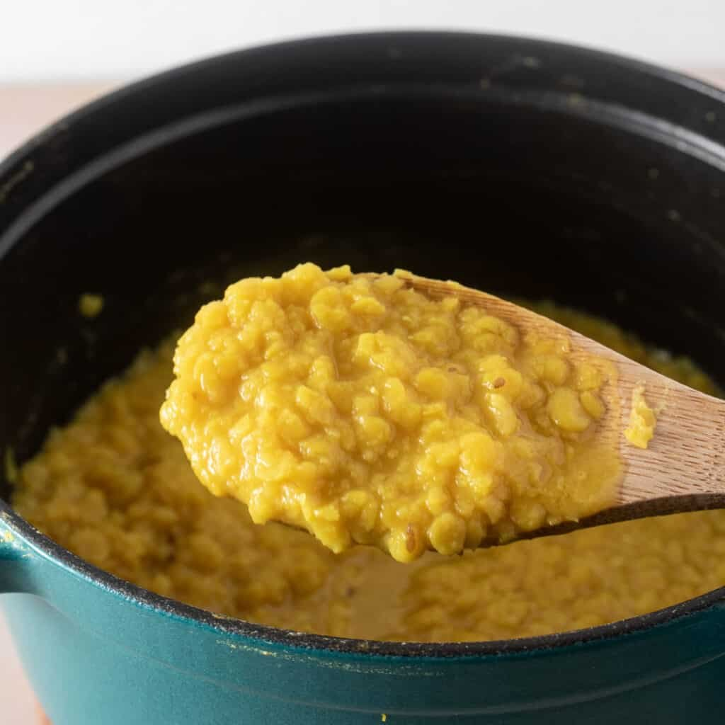 Close up shot of the cooked lentils demonstrating texture - if you feel the dal, it should be soft but not too mushy!