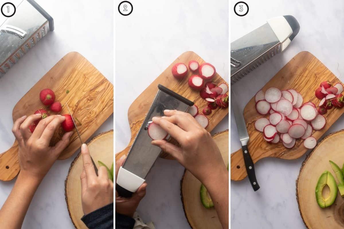 Three panel collage of chopping radishes