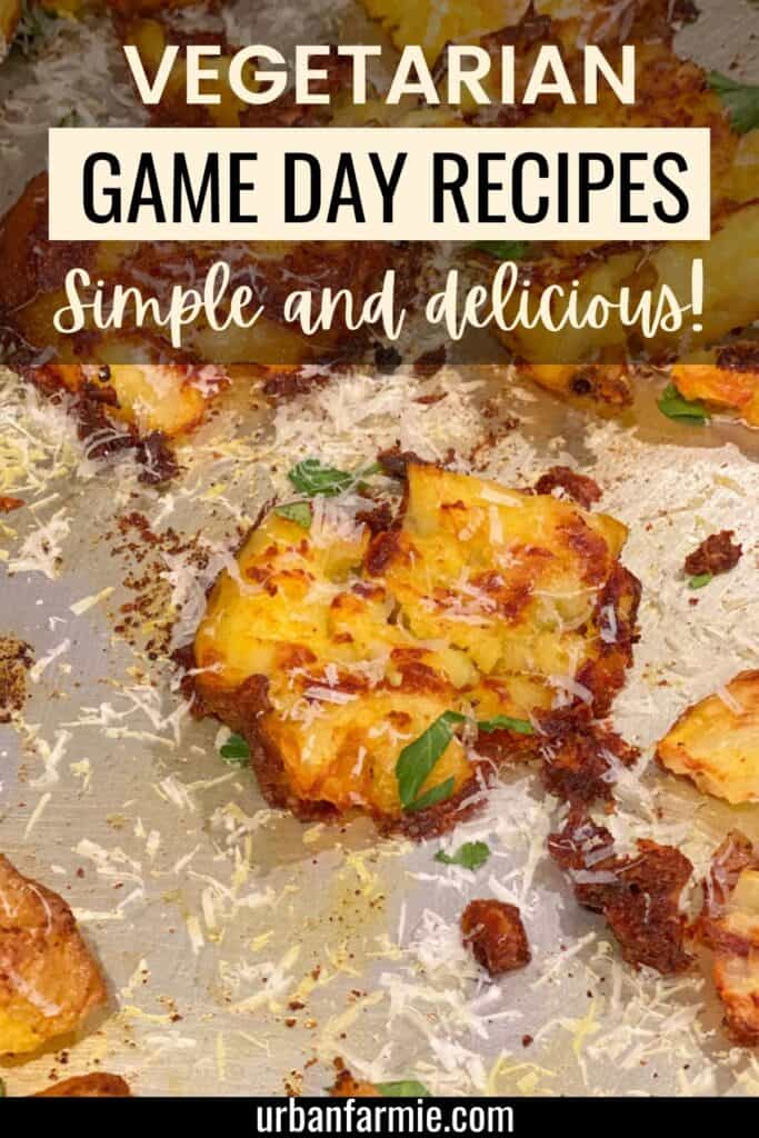 Smashed potato in a graphic for game day recipes