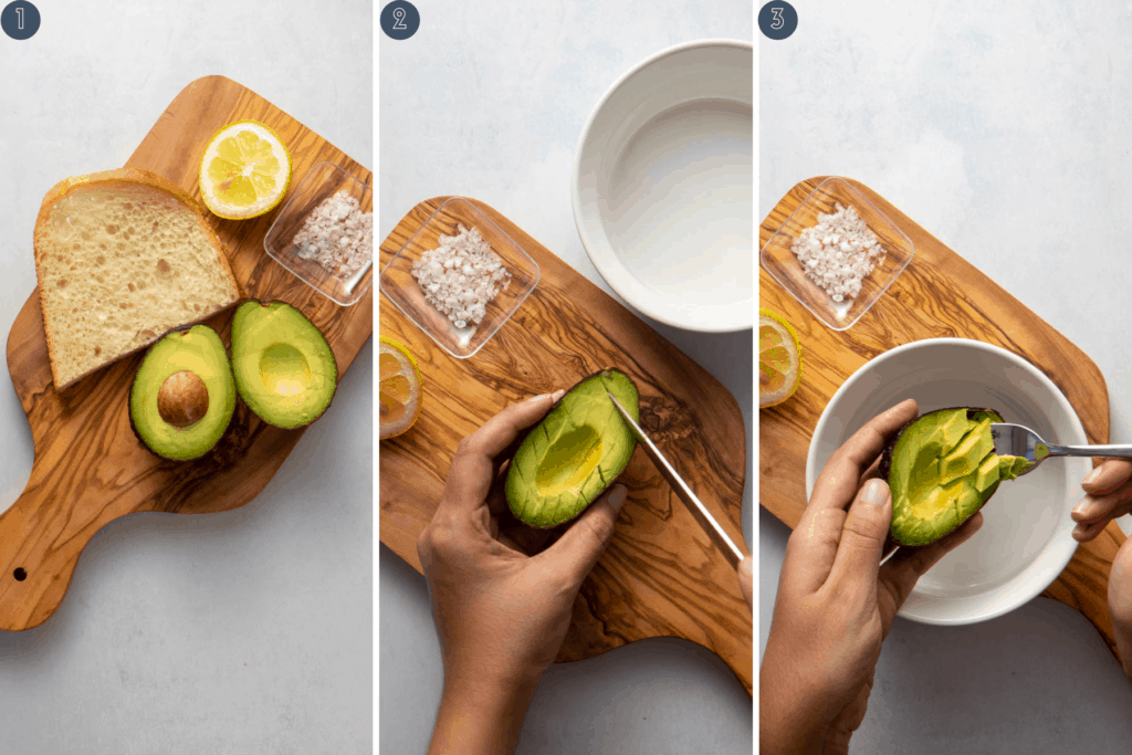 Step by step process for scooping out avocados