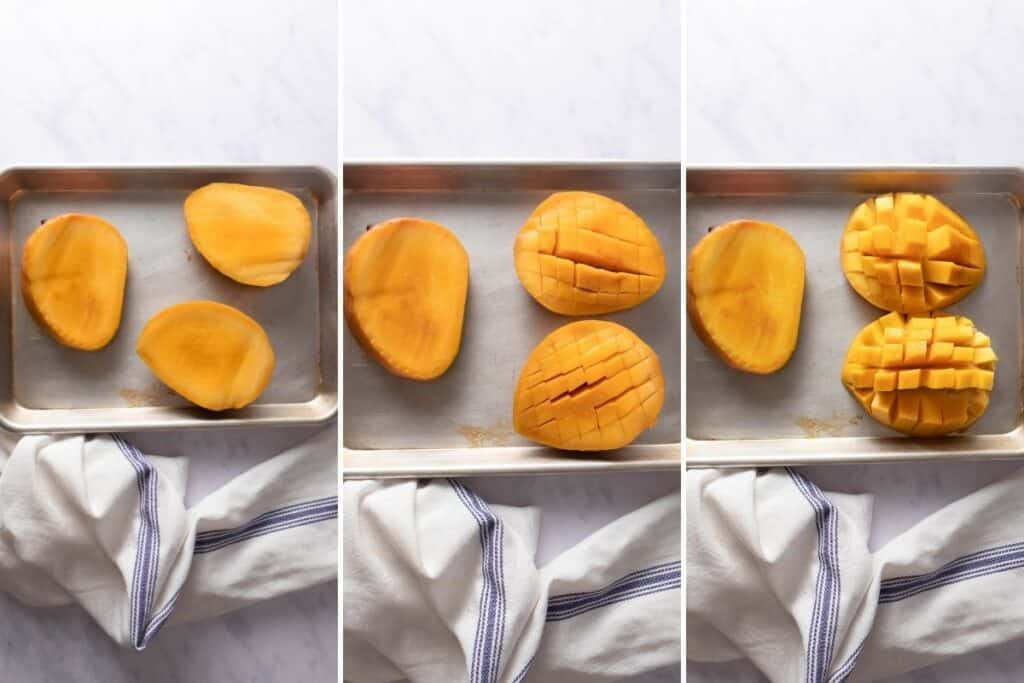 Three step collage showing how to cut mangoes