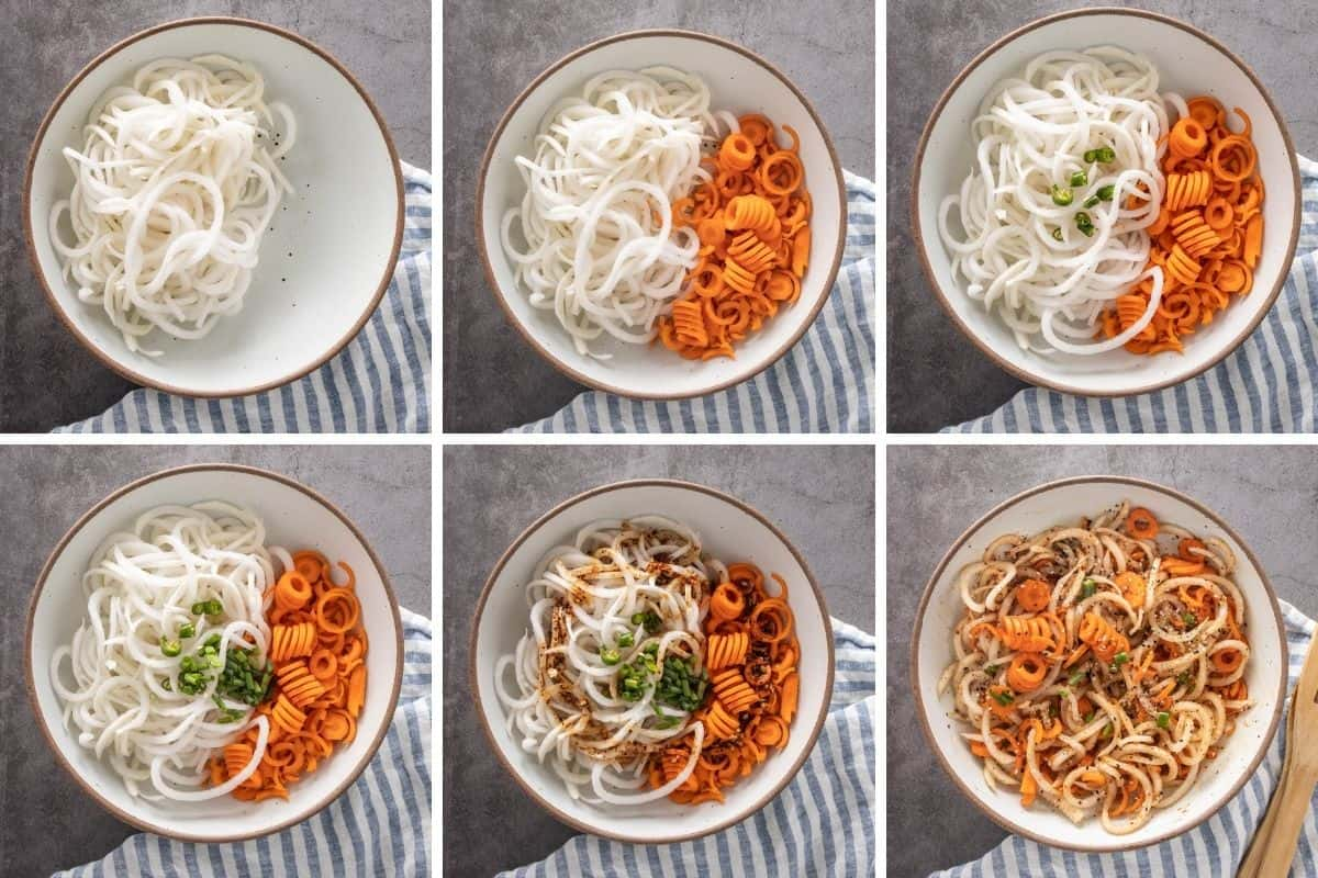 Six panel collage showing how the ingredients are layered one by one to create the salad