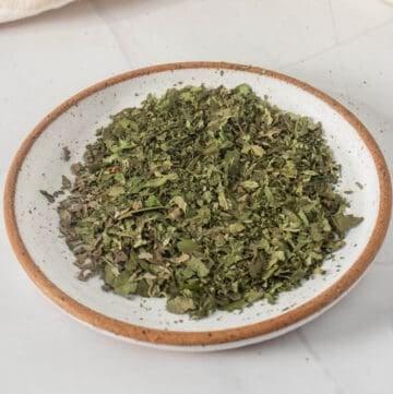 Close up shot of dried basil