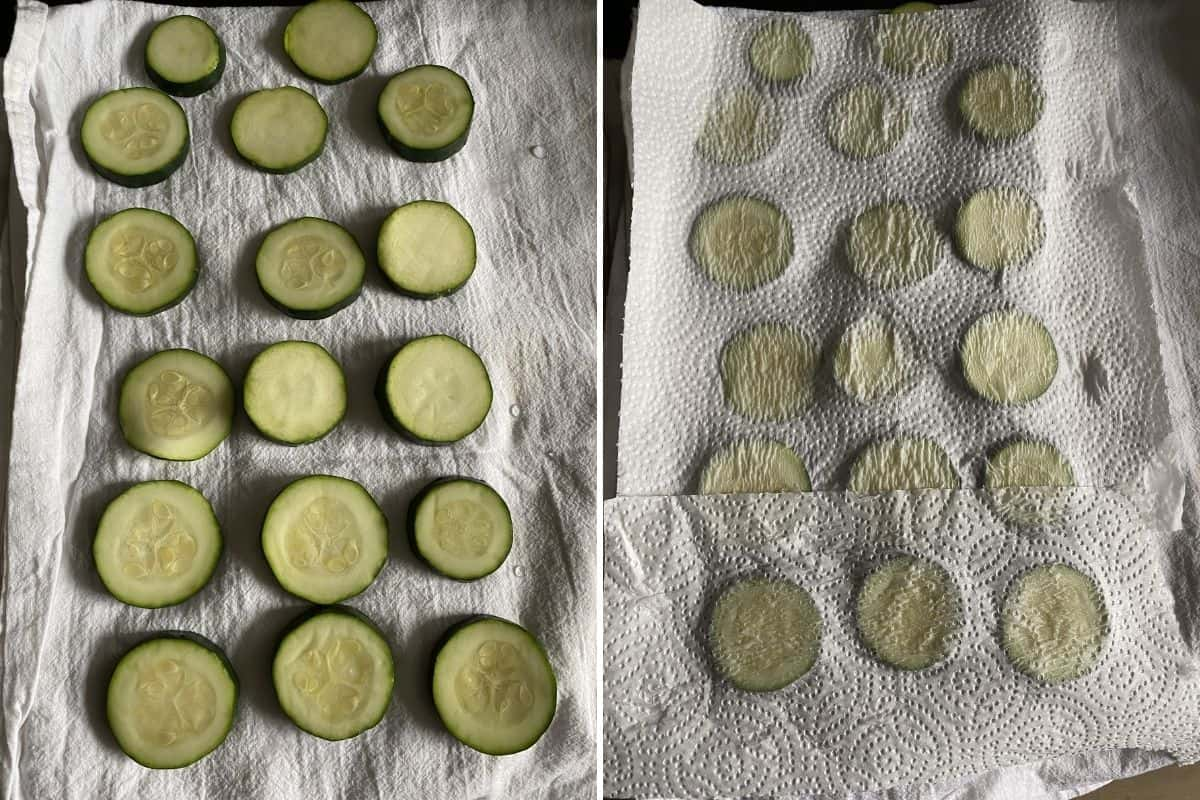 Two panel collage showing how to line up zucchini slices to dry them