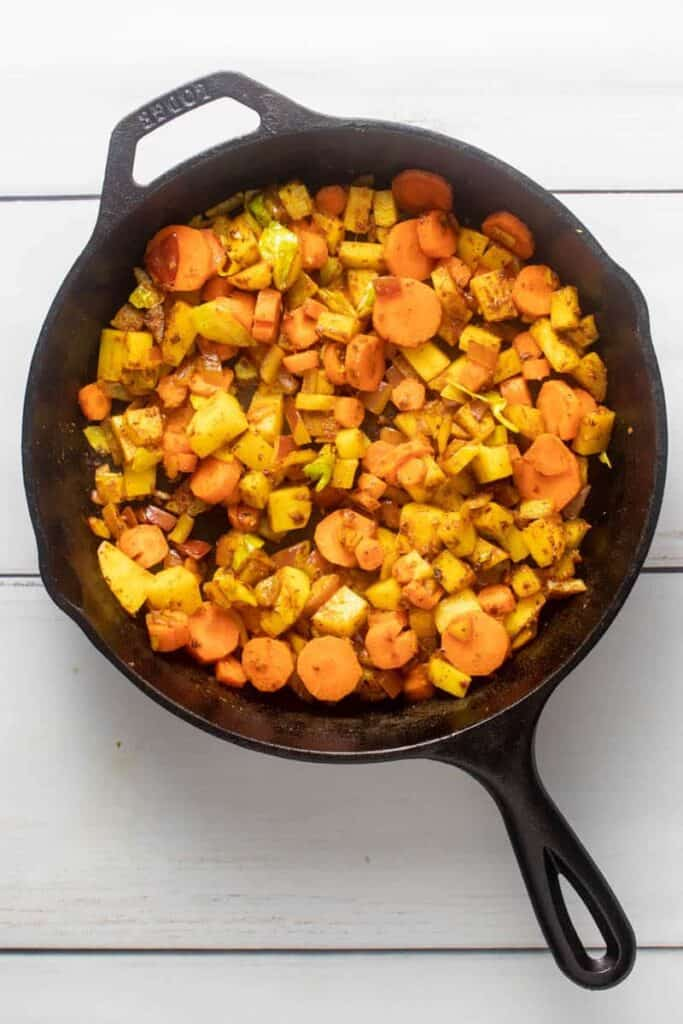 Infused olive oil mixed in with root vegetables