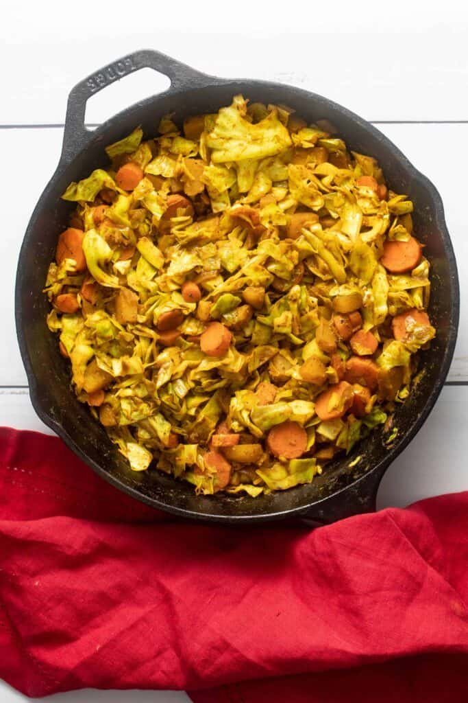 Fresh off the stove, Ethiopian Cabbage Stew in cast iron skillet