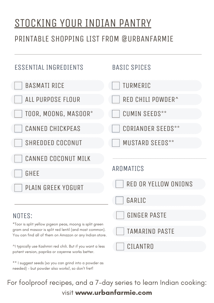 Printable grocery list showing a list of essential ingredients, spices and aromatics