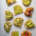 Six types of avocado toast