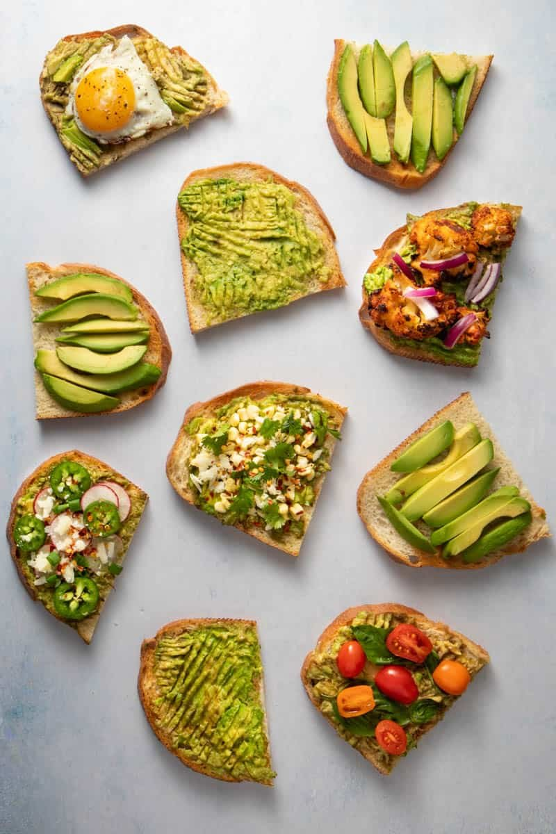 Six types of avocado toast