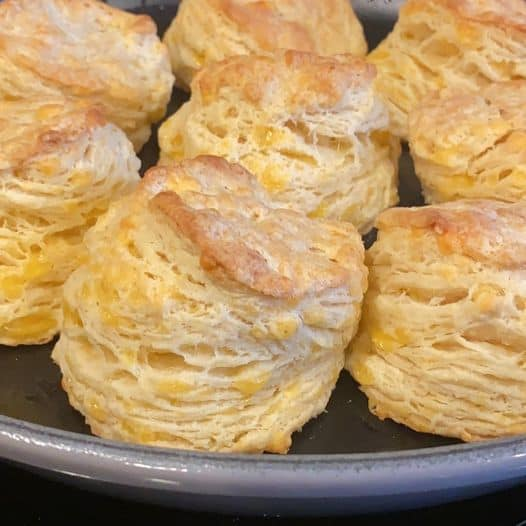 Unbelievably flaky side view of biscuits!