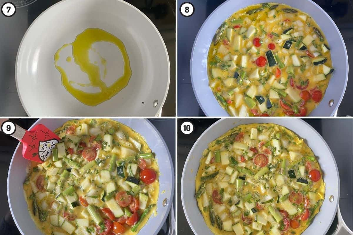 Four panel collage showing how to first cook the egg mixture on one side before flipping (including bottom left panel - showing how to use spatula to allow liquid eggs to drain underneath)