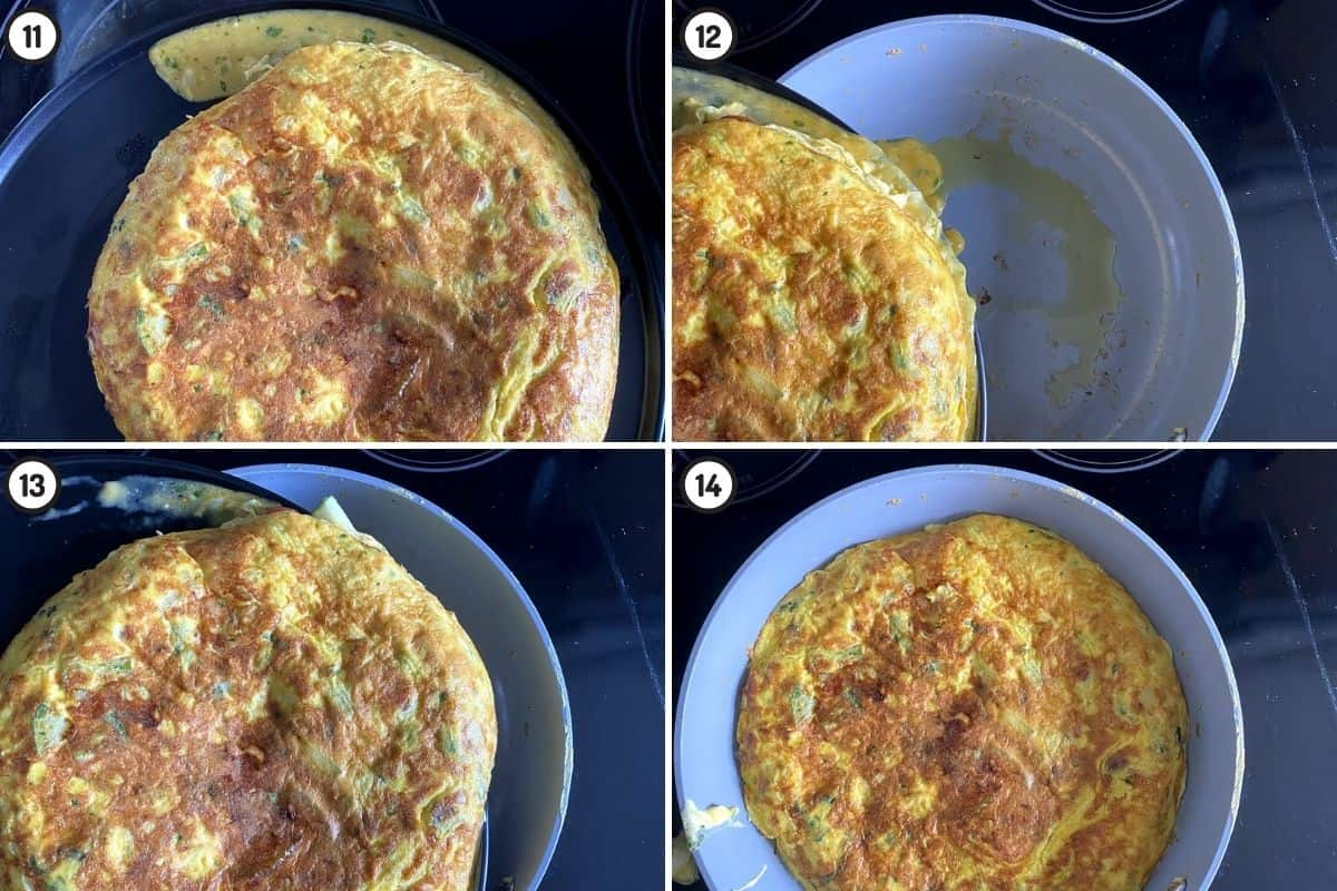 Four panel collage showing how to flip the frittata by using a larger plate, and then cooking the other side