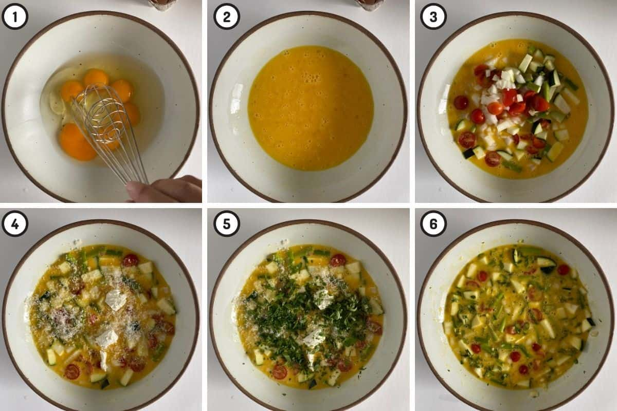 Six panel collage showing eggs added to bowl, being beaten, vegetables added to eggs, then cheeses, and finally herbs!