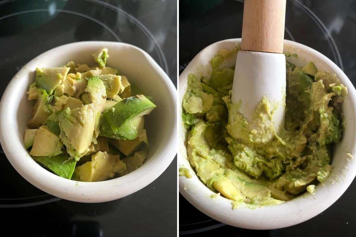 Two panel collage showing how to mash avocados for freezing