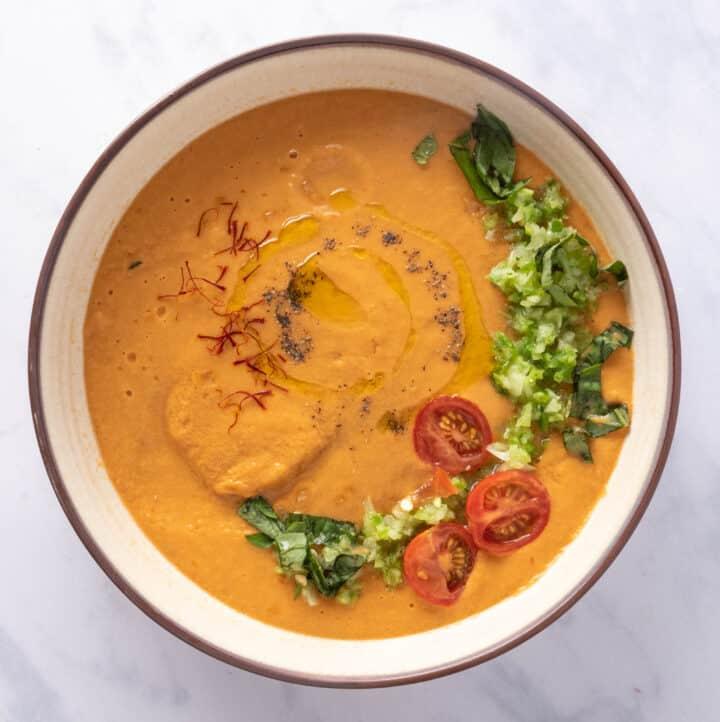 Close up of gazpacho bowl