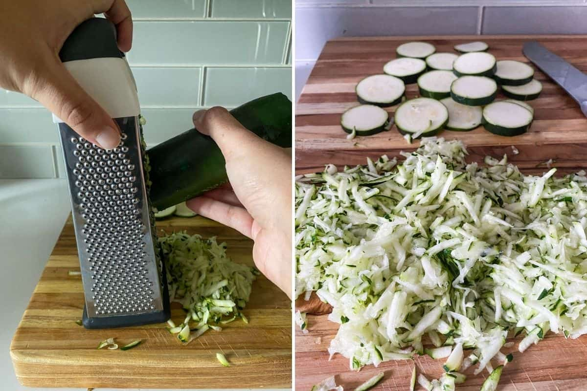 Two panel collage showing how to use a box grater to grate zucchini and grated zucchini