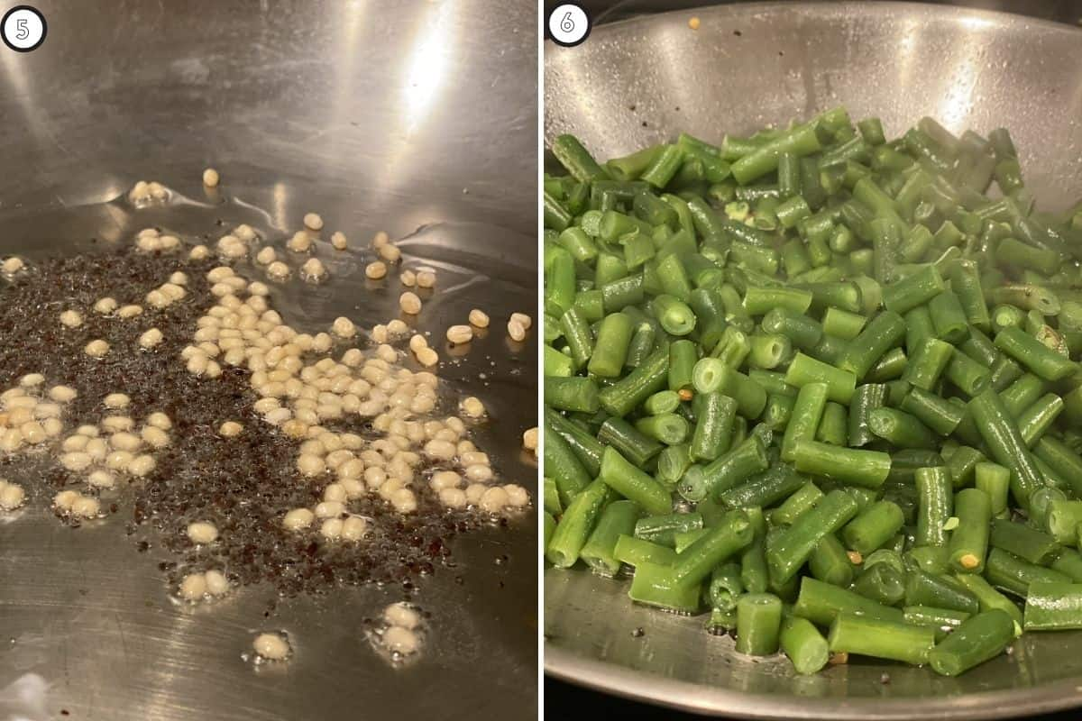 Two panel collage showing tempering and green beans added to skillet