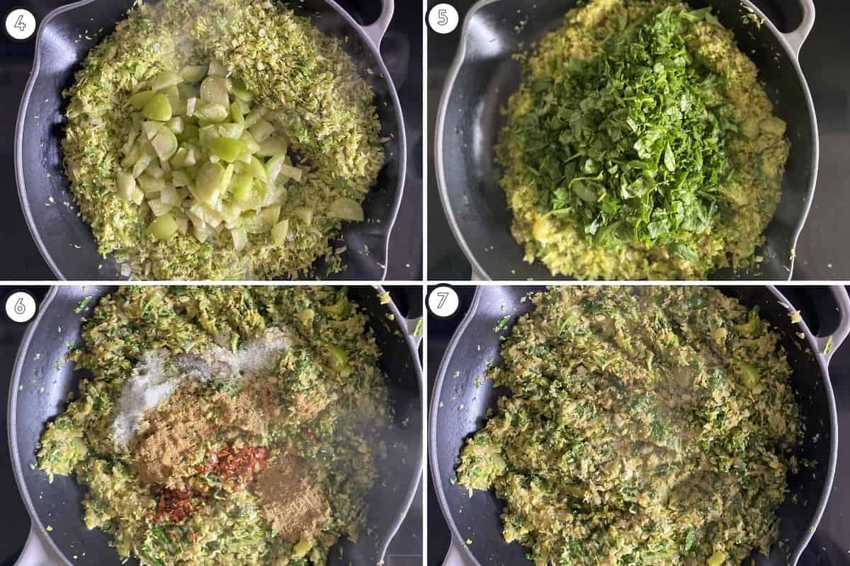 Four panel collage showing how to cook tomatillos, spinach and spice the dish