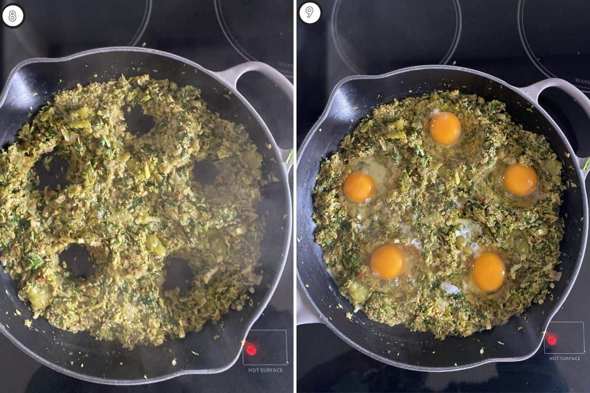 Two panel collage showing how to crack eggs into shakshuka