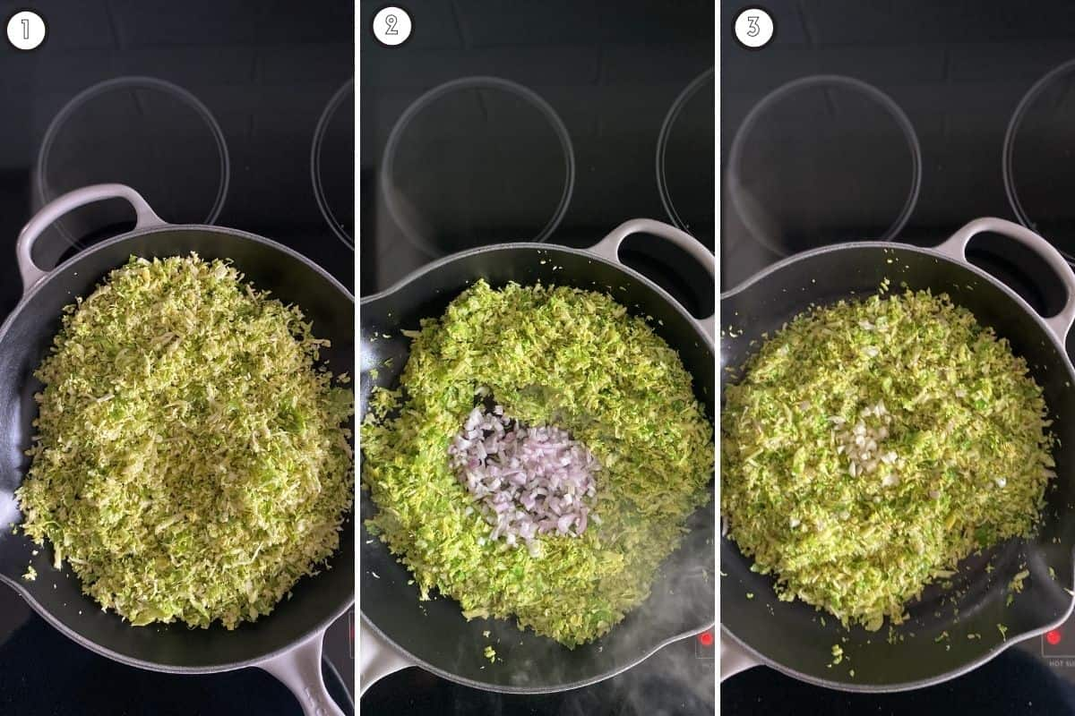 Three panel collage showing how to cook Brussels sprouts and aromatics