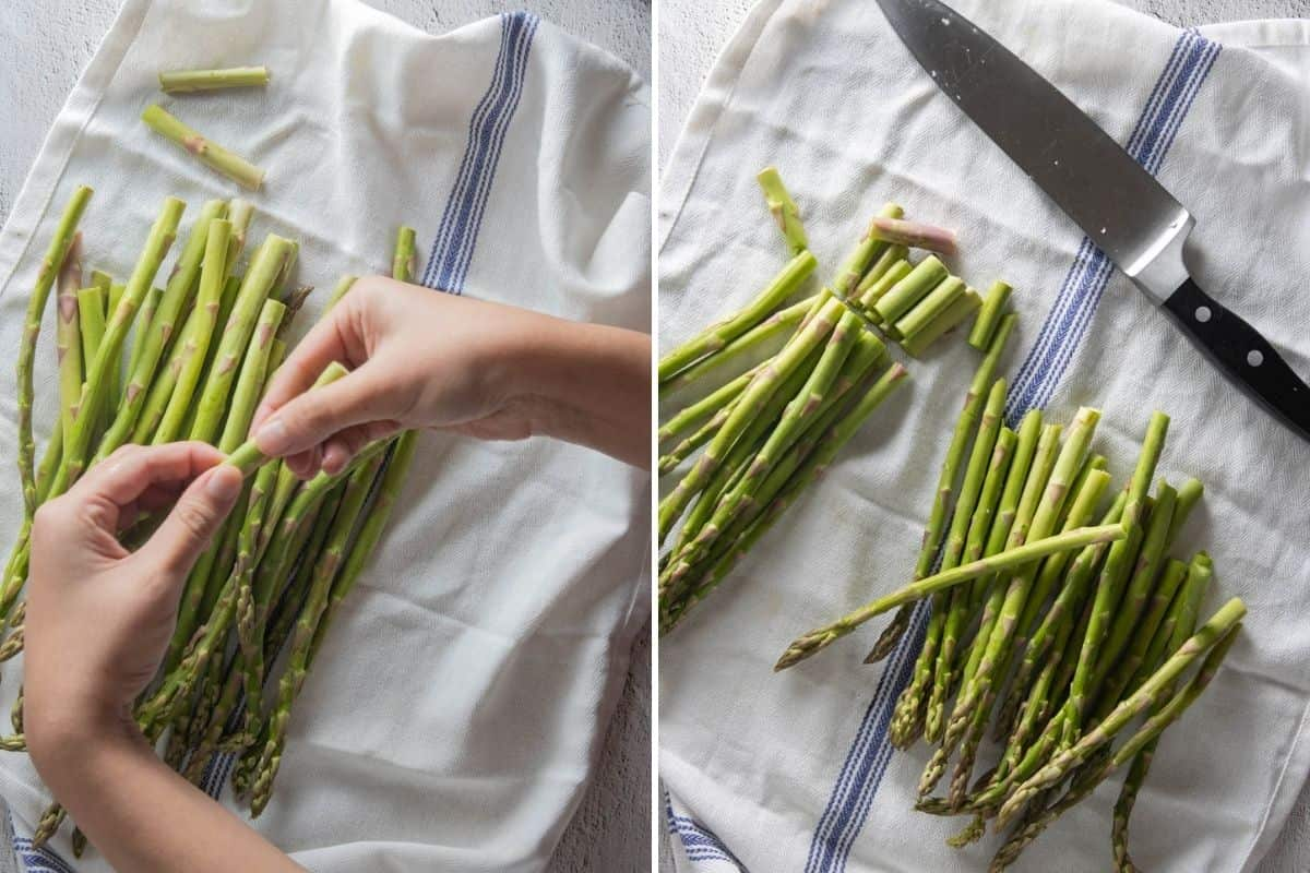 Two panel collage showing how to trim asparagus using your hands or with a knife