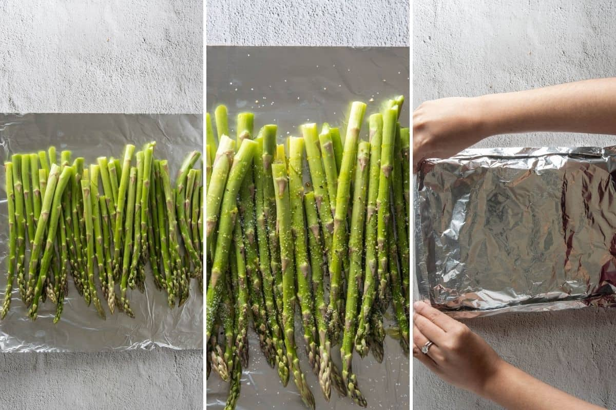 Three panel collage showing how to season asparagus and make foil packets