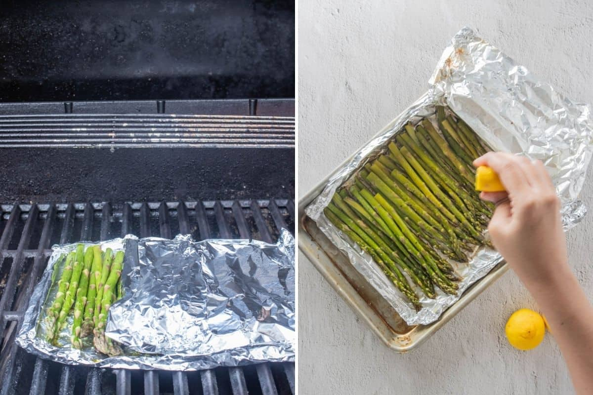 Two part collage showing how to place foil packet on grill and seasoning finished product with lemon juice