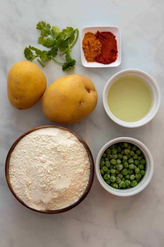 Six ingredients needed to make samosas (cilantro optional)