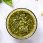 Close up of basil pesto in a bowl