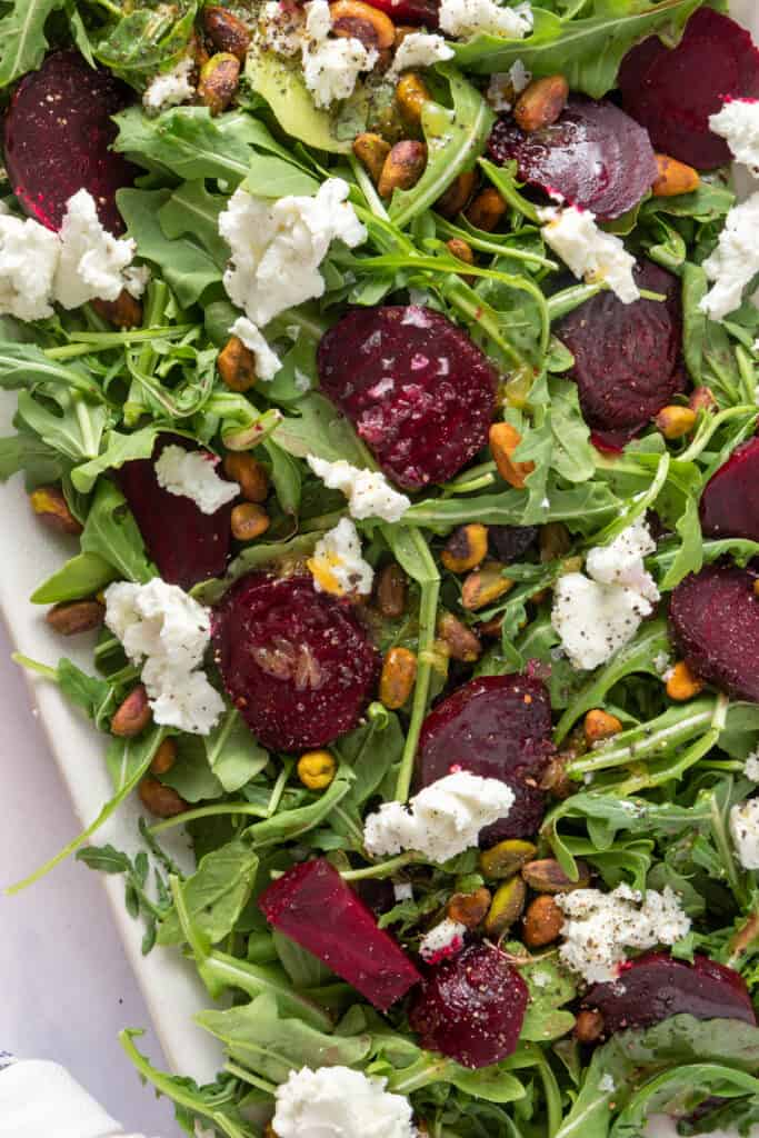 Close up showing the textures in the roasted beet salad