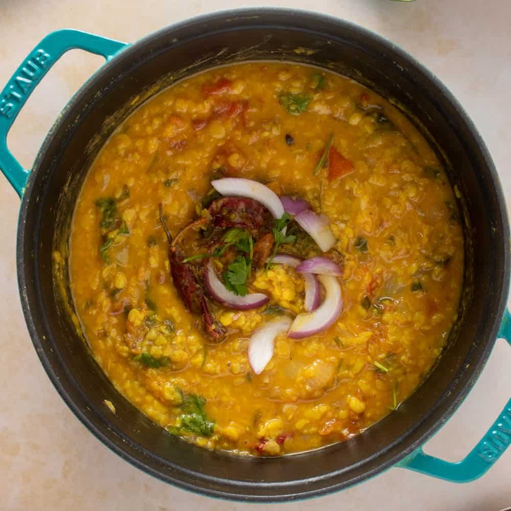 Dal tadka, fresh from the stovetop (in the pot it was cooked in)