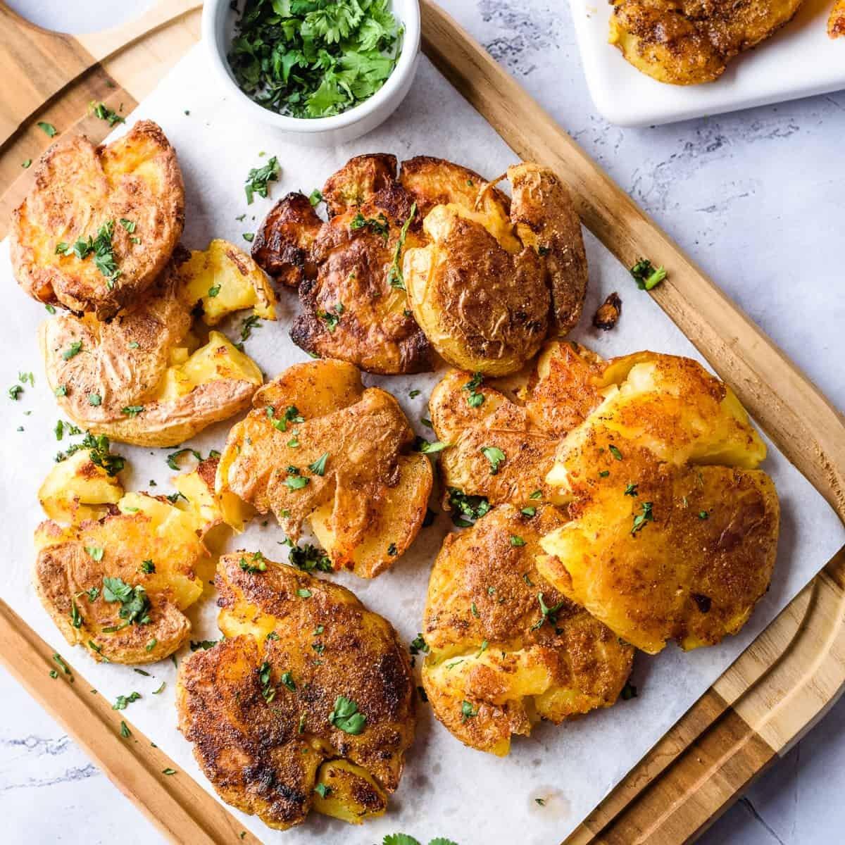 Close up image of garlic smashed potatoes