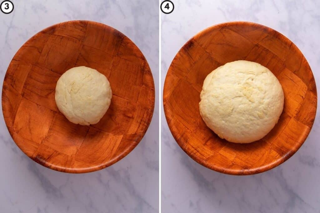 Before and after images showing how the naan dough rises