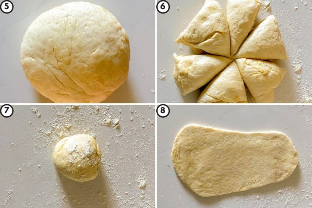 Four part collage showing how to portion the naan dough into equal sizes and roll it out