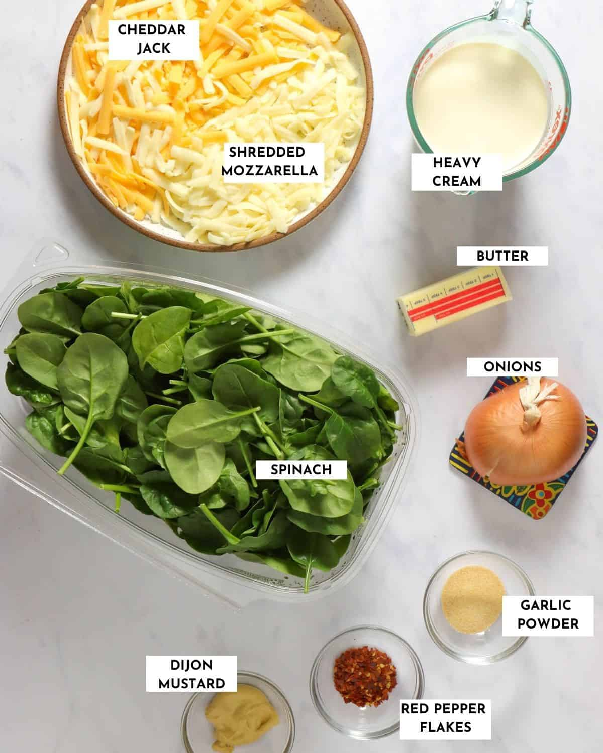 Labeled ingredient list for creamed spinach - check recipe card for details!