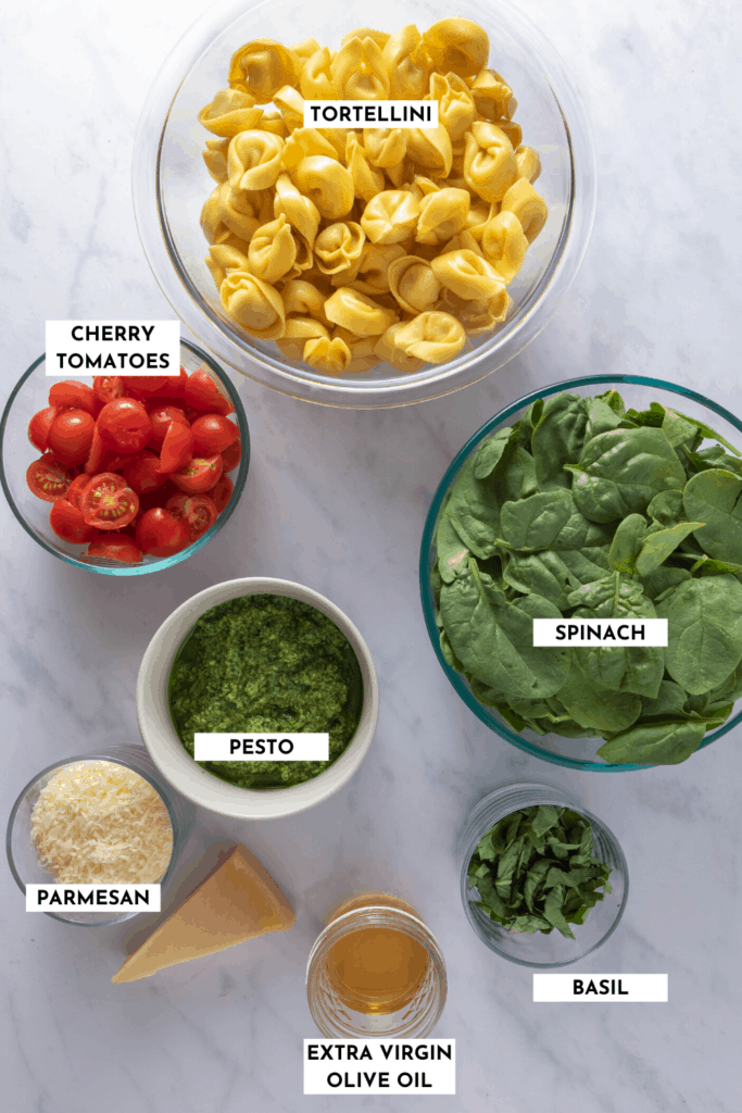 Labeled ingredient list for spinach tortellini salad - refer to recipe card for ingredients and sizes!