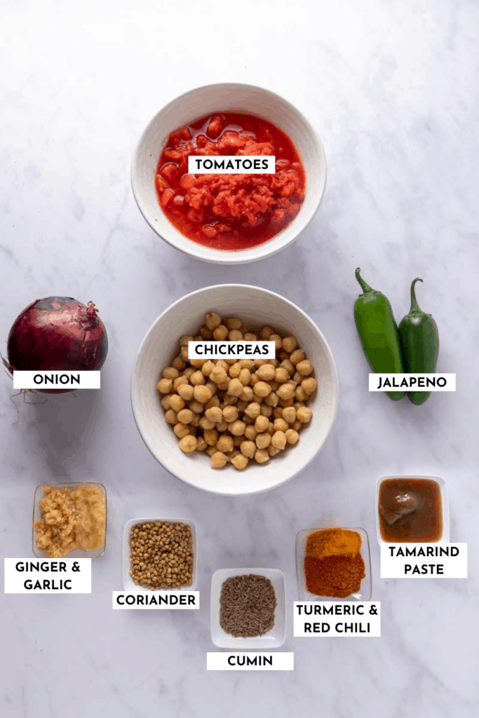 Labeled ingredients for chana masala - refer to recipe card for ingredients and quantities!