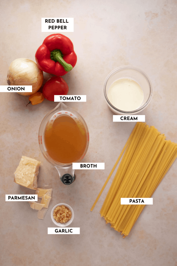 Labeled ingredient list for spicy Alfredo pasta - detailed list and quantities can be found in the recipe card