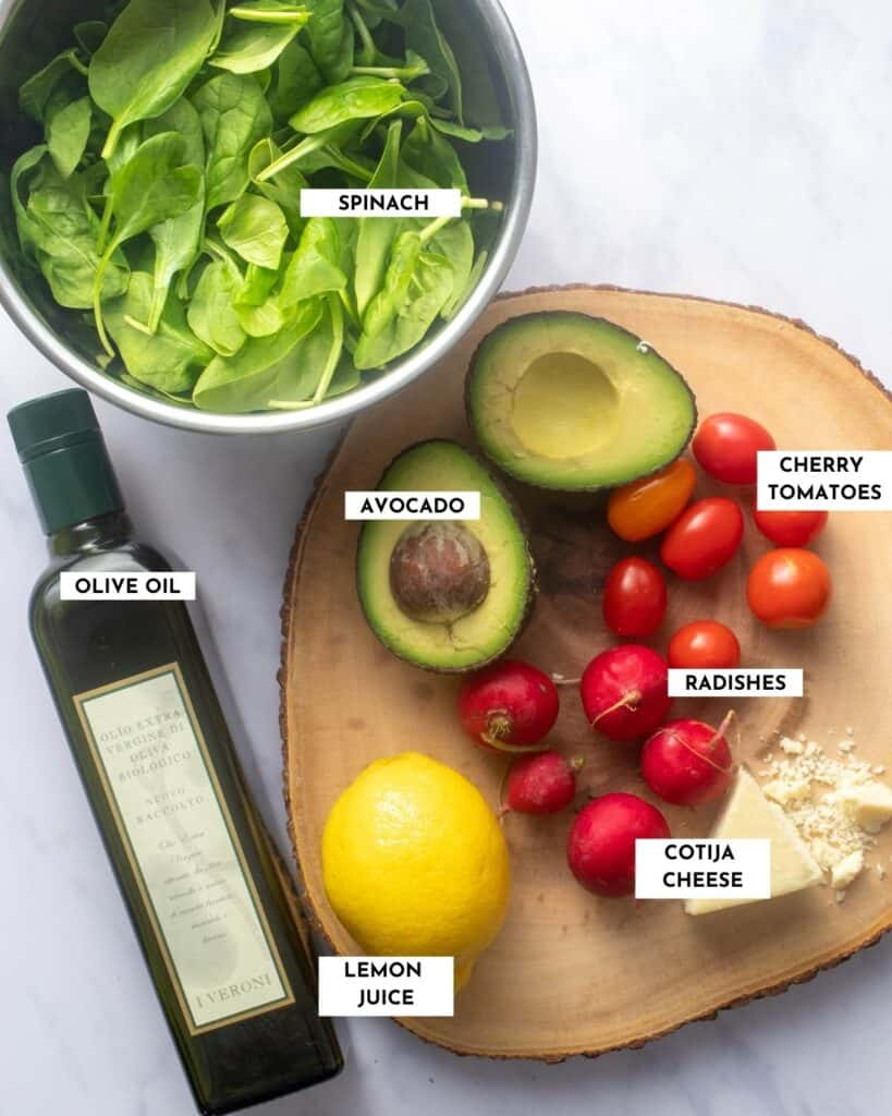 Labeled ingredients photo showing salad requirements - check recipe card for details!